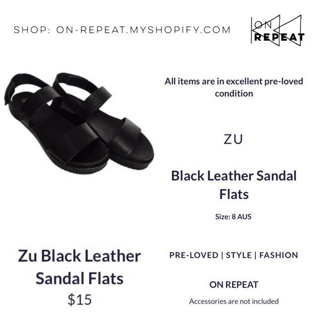 Zu Black Leather Flatform Platform Sandals