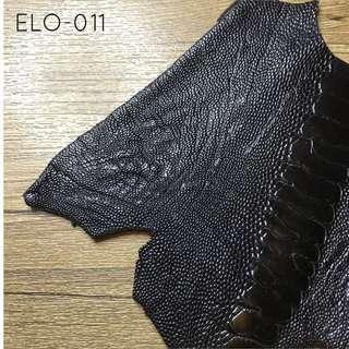 ELO-011 Black Ostrich Exotic Leather Hide Jamjarleather