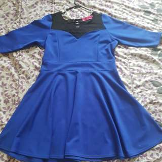 Plus Size Blue Skater Dress