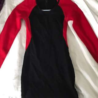 GUESS Red And Black Bodycon Dress