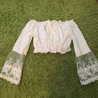 White Sheer And Lace Crop Top Long Sleeve