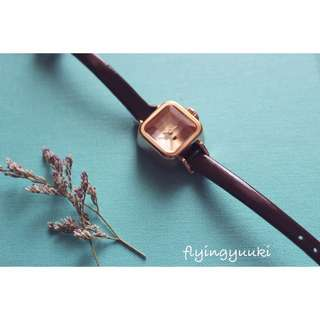 Julius小方糖錶-巧克力咖×玫瑰金框-真皮錶帶、生活防水