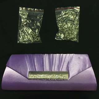 Lavender Clutch With Rhinestone Details