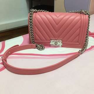 Chanel Pink Chevron Boy
