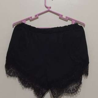 Black Dolphin Shorts W/ Lace