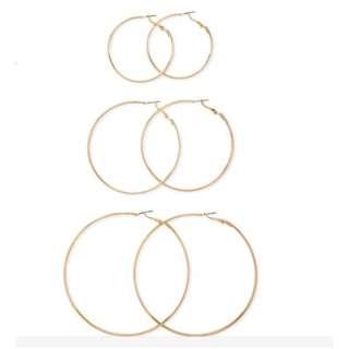 (特價)歐美圓圈耳環金色三套一組
