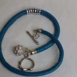 Pandora Like Bracelet with Rhinestone Charm