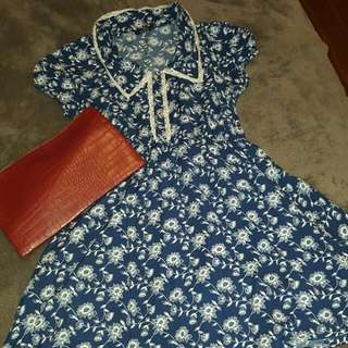 Navy & White Floral Dress Vintage STYLE