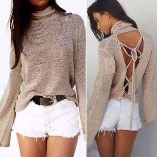 Woman Long Sleeve Casual Knitted Cardigan Loose Sweater Lace Up Back Less