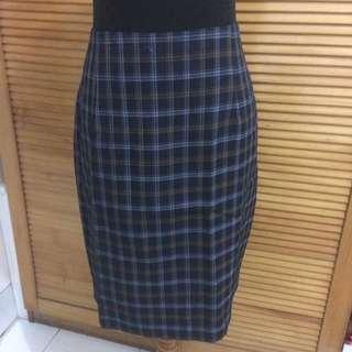 PS A-line Skirt Tartan Style Rok A-line Span Rok Kantor Biru tua