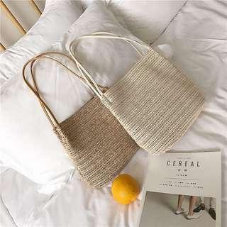 夏日休閒風編織水桶包