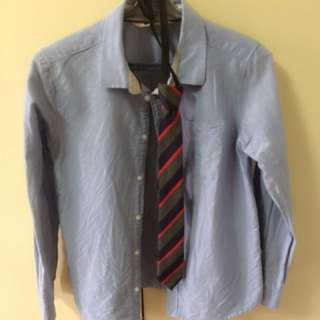 H&M Polo Long Sleeve With Necktie