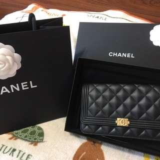 Chanel boy woc 羊皮金釦金鏈