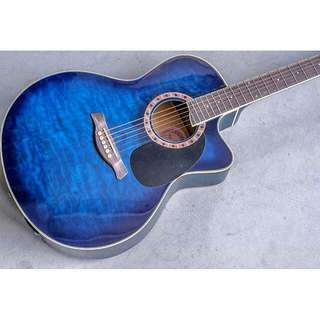 Jay Tuser Quilted Maple Blue Burst Cutaway Guitar 42