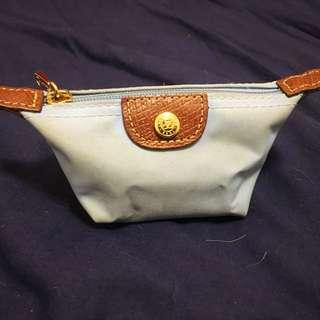 Longchamp粉藍色 拉鍊 散子包 Coin Bag