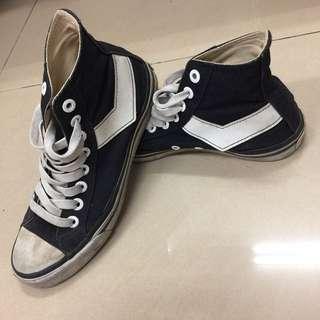 🚚 PONY黑色高筒帆布鞋