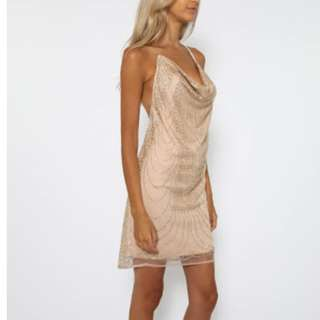 Gold Boulder Backless Dress