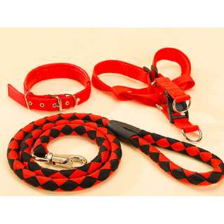 Heavy Duty 3PCS/SET Sport Dog Puppy Pet Adjustable Leads Collar Harness & Leash