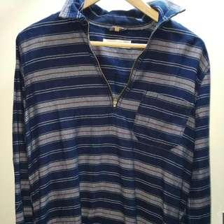 Blue Striped Zip Shirt Topshop