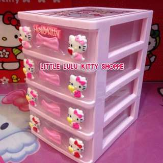 Hello Kitty Storage/Jewelry Box - 4 Drawer/Clear/Pink