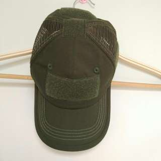 Unisex Mesh Patch Cap Adjustable Olive Green