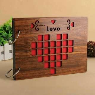 [P.O 5 To 10 Days] handmade wood cover photo album.💕