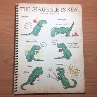 A4 TYPO T-Rex Dinosaur Lined Notebook