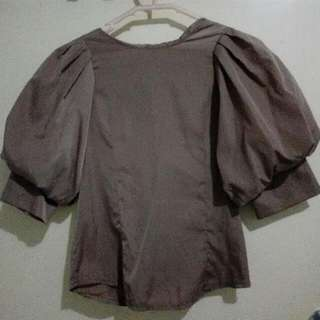 Brown Top With Puff Sleeves