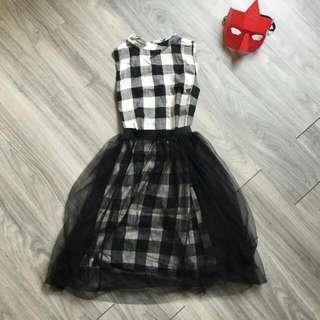 兩件式 格紋洋裝+紗裙