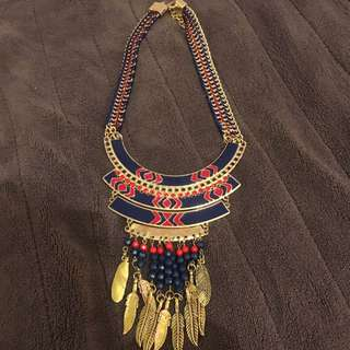 Statement Necklace - Blue Red Tribal Style Pattern