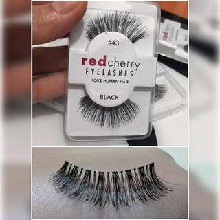 100% Human hair eyelashes , Red Cherry