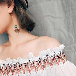 Vintage fan earrings Korean temperament long tassel earrings pendant no ear hole ear clip
