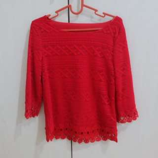 Red Brokat Top