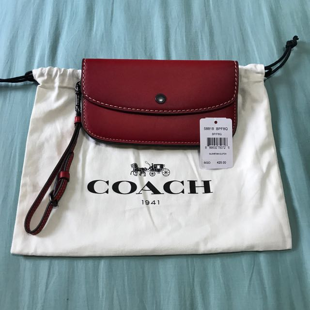 1a25c58a2a 80% NEW  COACH Red Glovetan Clutch Waistlet Wallet
