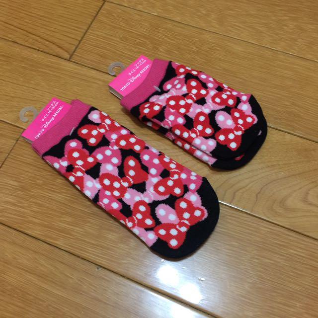 日本東京迪士尼可愛蝴蝶結母女襪組