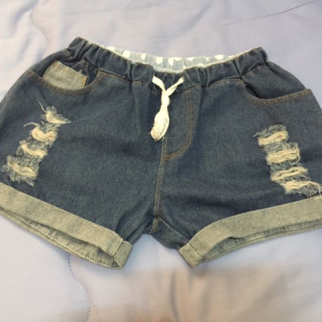 近新彈性褲頭綁繩短褲