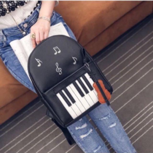 韓版 氣質音樂鋼琴鍵盤後背包