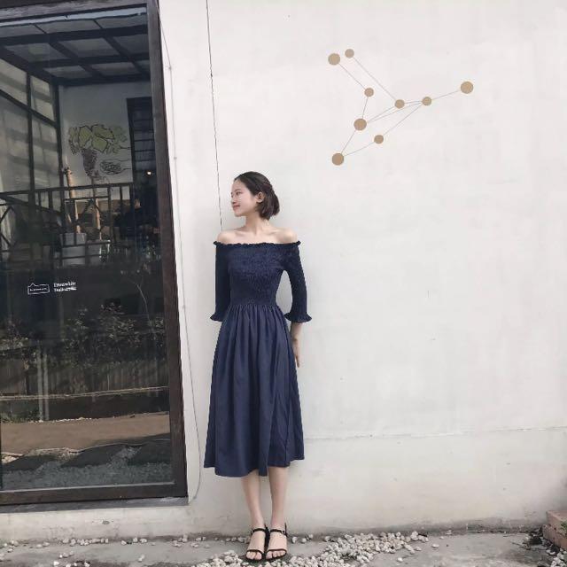 韓版鄉村連身洋裝 全新 深藍/黑 兩色
