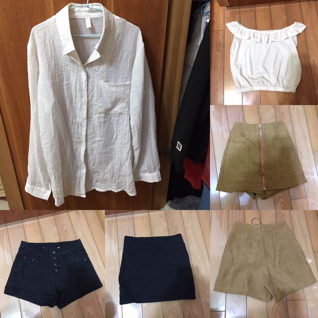 五件一組賣,上衣 褲裙 窄裙 襯衫 黑短褲