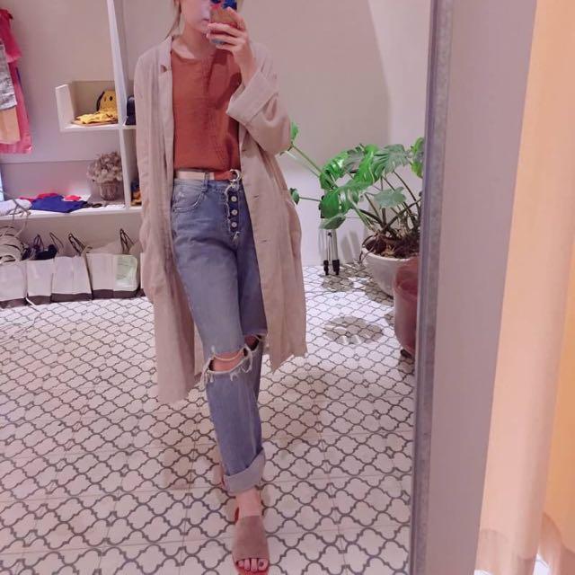 顯瘦 高腰 設計款 韓版 男友褲 牛仔褲