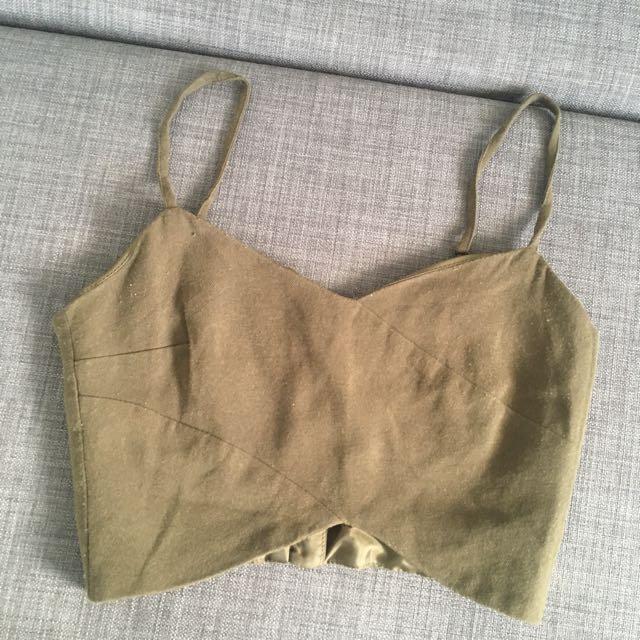 Army Green Miss Selfridge Bralette Top