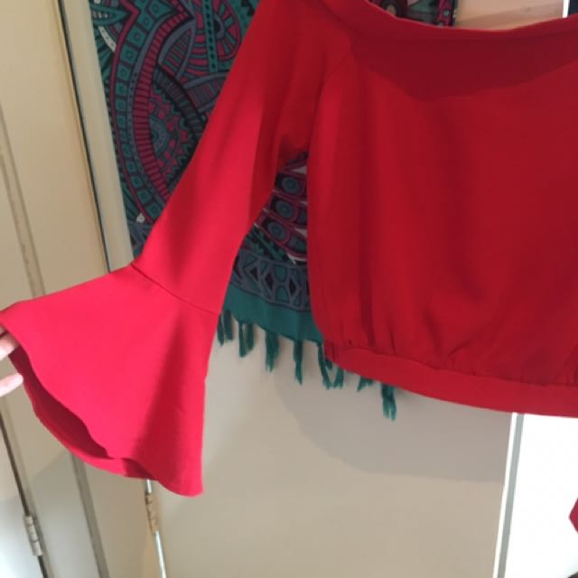 BARDOT RED BELL SLEEVE TOP