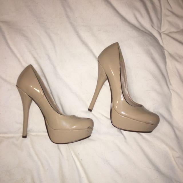 Beige Round Toe Heels