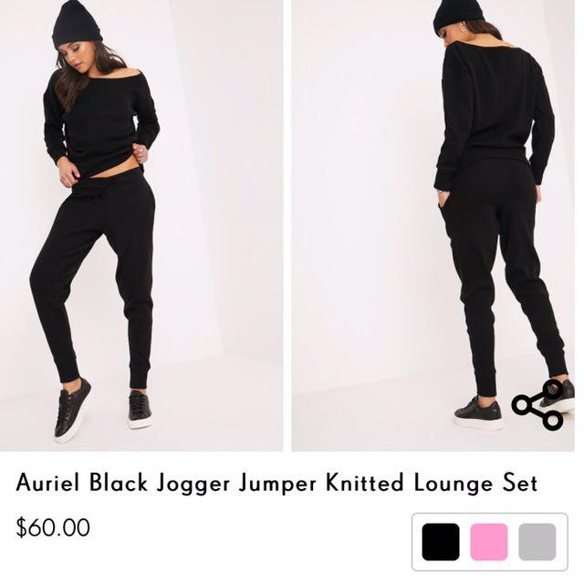 Black Jogger Jumper Knitted Set