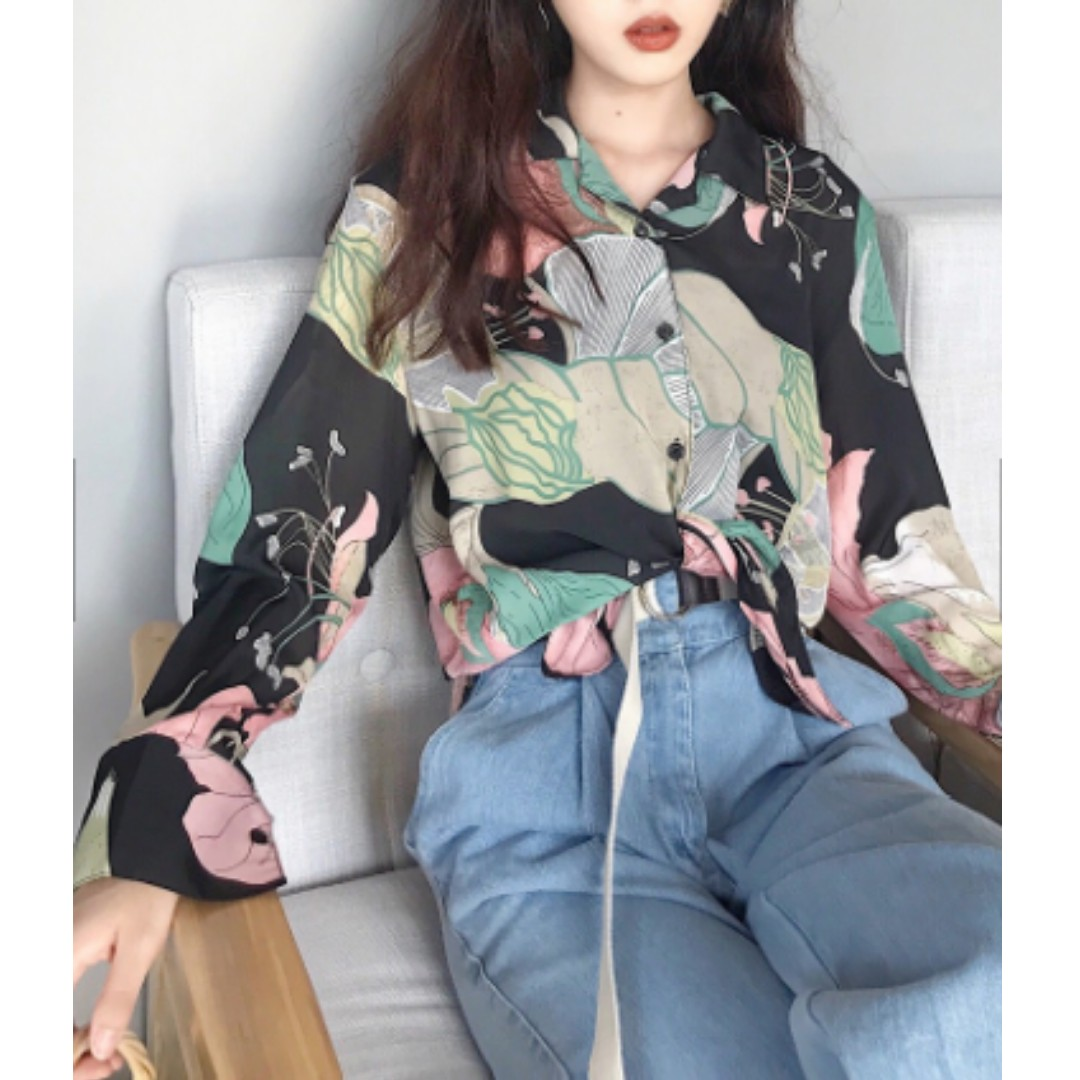 Blouse Loose Fashion Printing Long Sleeved  Shirt / Korean Top