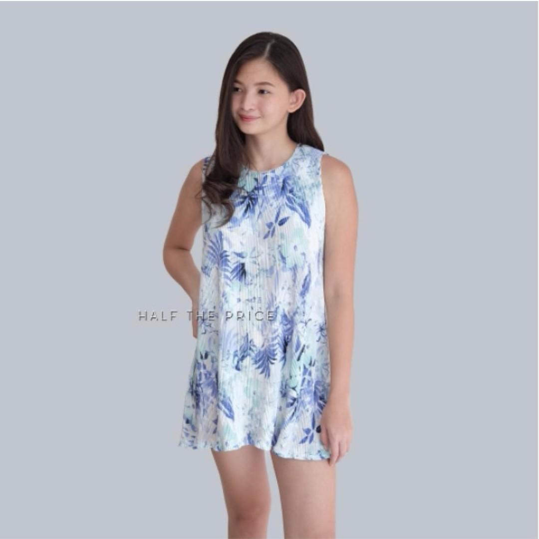 Blue Floral Pleated Mini Dress
