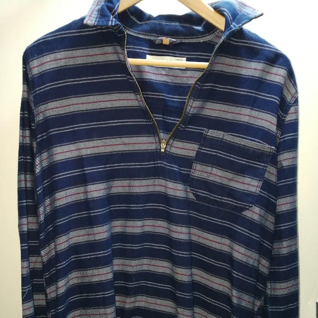 Blue Striped Zip Shirt Topshop