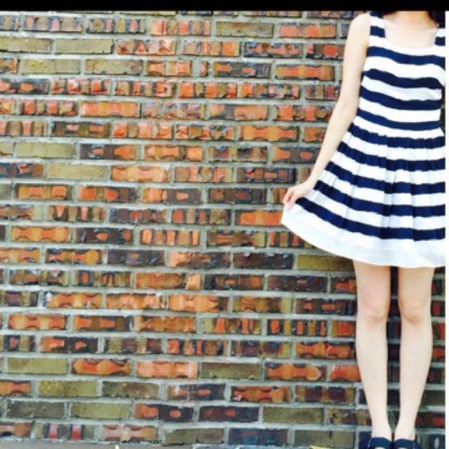 美國品牌cc Double 0條紋洋裝, S, 9成新