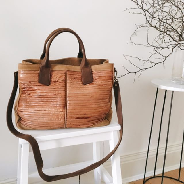 Cow Leather Snake Skin Tote Bag