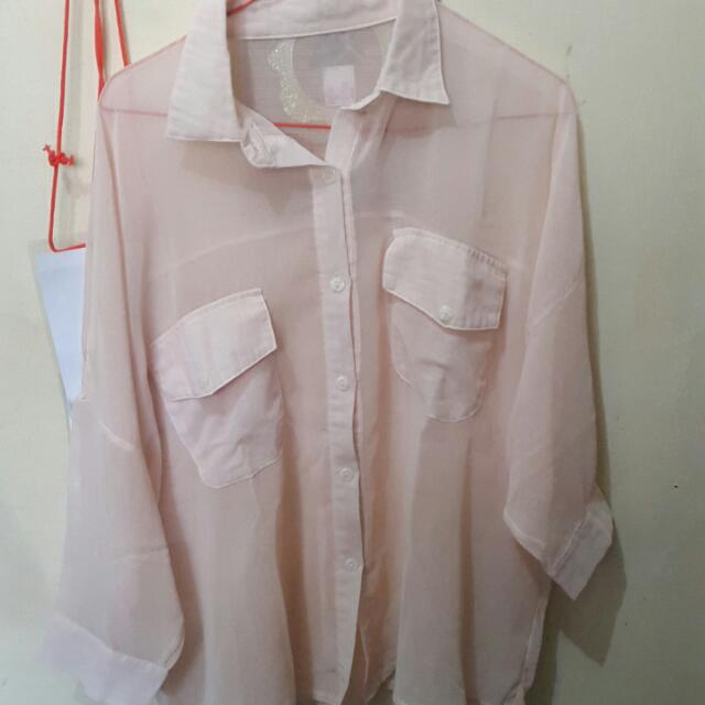 Cream Transparant Shirt By No Brand